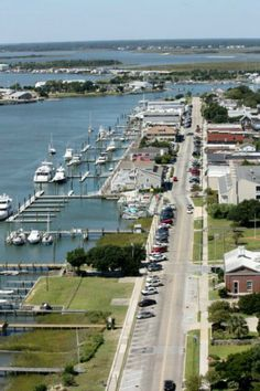 """View of the downtown of Beaufort, North Carolina. Know as """"Fish Town"""" in the early 1700's when Blackbeard frequented the coast, """"Beaufort Town"""" was established as a seaport with the right to collect customs,in 1722."""