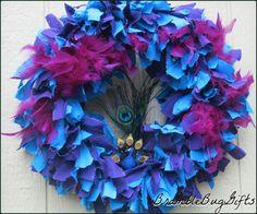 Peacock Rag Wreath Blue and Purple Peacock Wreath Peacock Decor by BrambleBugGifts