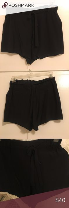 Waverly Grey Silk Shorts Waverly Grey 100% silk shorts. Size 4, never worn. These adorable black silk shorts can be dressed up or down and have a front zip closure with a tie around the waist. Waverly Grey Shorts
