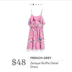 I like the feminine ruffle detail, the cut of the dress, the floral print, and the pink color.