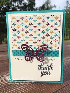 Megumi's Stampin Retreat, Stampin' Up! Tin of Cards Stamp Set, Stampin' Up! Bohemian DSP. Stampin' Up! Bold Butterfly Framelits