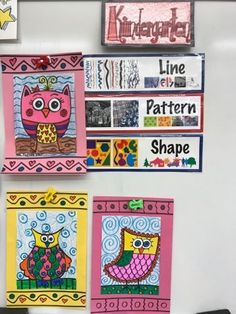 Kindergarten line shape and pattern owls | Jamestown Elementary Art Blog | Bloglovin'