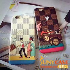 LV風 iPhone6/6plusケース 可愛いアイフィン6プラスケース 革製 カートン ルイヴィトン風ケース 男女向けい