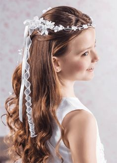 First Communion Hairstyles First Communion Floral Crown Vine Headdress With Pearl Trail