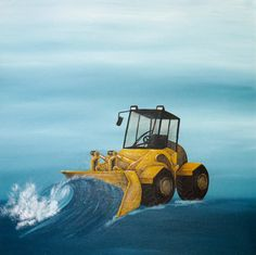 artwork for children - Yellow bulldozer for boys bedroom? art is such an easy way to brighten up a child's bedroom. Fun Art, Cool Art, Original Art, Original Paintings, Skyline Painting, Bedroom Art, Mixed Media Painting, Limited Edition Prints, Fine Art Paper
