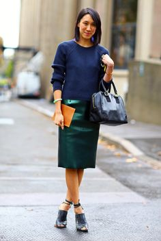 Blue sweater and green skirt  Eva Chen - the Fashion Spot