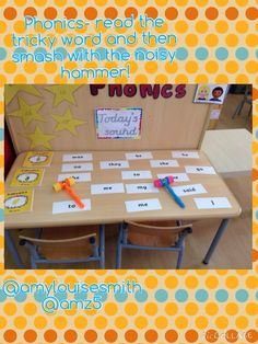 Phonics- read the tricky word and then smash with the hammer. Great boy engagement with this! Sight word, reading, literacy