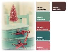 Chip It! by Sherwin-Williams – aqua/red/pink in kids' bath (with gray/white accents, instead of cream/brown)