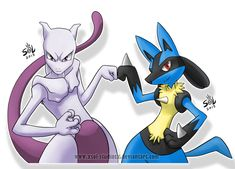 Lucario and Mewtwo