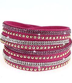 caripe Damen Armband Wickelarmband Glitzer Steine viele Designs + Farben - strala (Modell 2 - pink) - http://schmuckhaus.online/caripe/modell-2-pink-caripe-damen-armband-wickelarmband