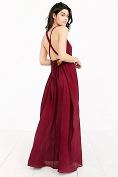 Band Of Gypsies Grecian High-Neck Crepe Maxi Dress