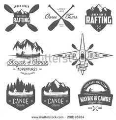 Set of kayak and canoe emblems, badges and design elements - stock vector