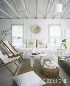 Beach sling chairs in living room: http://beachblissliving.com/sling-chairs/ Via: Dreamy White Cottages | House & Home