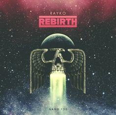 "Artwork / CD Cover Design for the album ""Rayko - Rebirth"". Available soon on Digital & CD. Retro Cosmic Disco Italo 70s 80s Phoenix Space Skull"