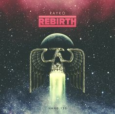 "Artwork / CD Cover Design for the album ""Rayko - Rebirth"". Available soon on Digital & CD. Retro Cosmic Disco Italo 70s 80s Phoenix Space Skull"