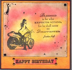 Birthday Card with stamps and rub-ons