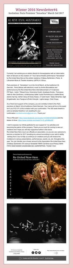 "Winter 2016 Newsletter#4  Invitation: Paris Premiere ""Senseless"" March 3rd2017"
