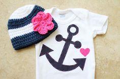Girly Nautical Gift Set Anchor Onesie & by sewsweetbykayla, $18.00