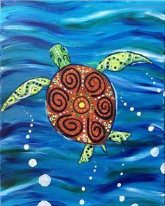 Hawaiian sea turtle painting. PF Changs, Paint Nite Event