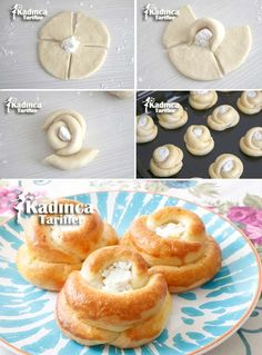 Cheese Pastry Recipe with Stale Cheese, How To? - Womanly Recipes - Delicious, Practical and Delicious Food Recipes Site, Donut Recipes, Pastry Recipes, Cheese Recipes, Turkish Recipes, Mexican Food Recipes, Pogaca Recipe, Pain Garni, Cheese Pastry, Savory Pastry