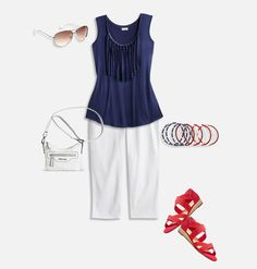 Shop seasonal patriotic looks like our plus size Freedom Fringe outfit featuring Fringe Trim Tank, Butter Denim Capri (White) and Barbara Elastic Wedge Sandal available in sizes 14-32 online at avenue.com. Avenue Store
