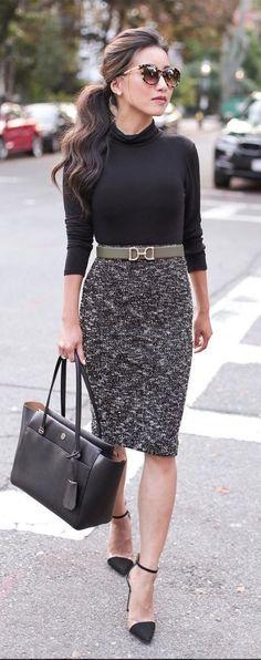 fashion trends / black top + bag + pencil skirt + heels