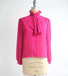 70s vintage ruffled jabot blouse / vintage secretary shirt / M. $45.00, via Etsy.