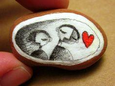 Hand Decorated Rock Art. $10.00, via Etsy.