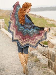 Ponchos & Shawls - Free knitting patterns and crochet patterns by DROPS Design Poncho Au Crochet, Poncho Knitting Patterns, Crochet Shawls And Wraps, Shawl Patterns, Knitted Shawls, Crochet Scarves, Crochet Hats, Crochet Winter Hats