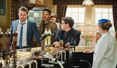 Aaron Livesy (Danny Miller), Adam Barton (Adam Thomas), Chas Dingle (Lucy Pargeter), Finn Barton (Joe Gill) & Victoria Sugden (Isabel Hodgins) (September 2014)