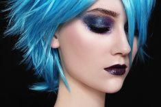 Blue wig stock photo