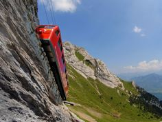 The way you get to the top of Mt Pilatus in Lucerne, Switzerland. The world's steepest cogwheel railway at a 48% gradient