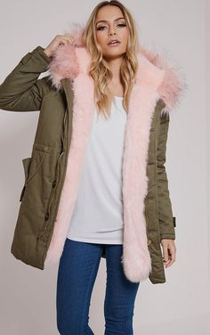 Pink Fur Lined Premium Parka Coat Looking to stay warm and super stylish this season? Then look ...