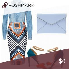 Feel like rocking some Denim??? Solid Denim Top with a Aztec Printed Skirt add some two color heel 👠 to tie it all together.. Tops Blouses