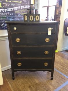 Duncan Phyfe style dresser painted in Debi Beard's DIY Chalk Type Paint in the color Black Velvet. Gold Gilding was added and wiped back to give a distressed look. Dark waxed for an aged look and to deepen the black. www.facebook.com/theshabbyshack20.