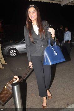 Celebrity Bag Style Sonam Kapoor Bollywood Celeb Airport Look