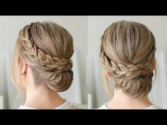 Double Braid Wrapped Roll Bun Today's tutorial was inspired by the Lace Braid Wrapped Bun. Brown Ombre Hair, Ombre Hair Color, Lace Braid, Braided Updo, Bun Braid, Curly Waterfall Braid, Loose Updo, Prom Hair Updo, French Braid Hairstyles