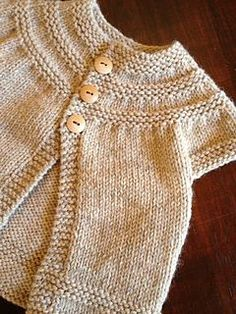 in threes: a baby cardigan- making this as my very first knitting project ... For Willa... In a sweet variegated springy cotton.