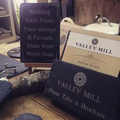 Don't forget, we can hand craft wedding favours and table plans for your big day. Pop into the shop and pick up a brochure - or visit our website for more info... http://www.valleymill.co.uk/products/weddings