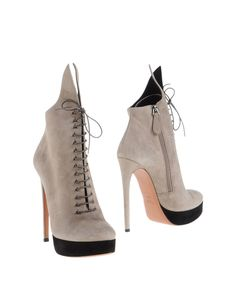 Gray Lace-Up Suede Ankle Boots