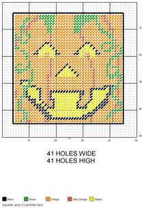 Square Jack O Lantern Face Halloween plastic canvas pattern