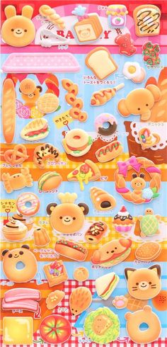 animal pastry sponge stickers and sticker book from Japan