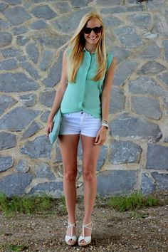 Your Outfit Today » Mint blouse with shorts, June 17 2013