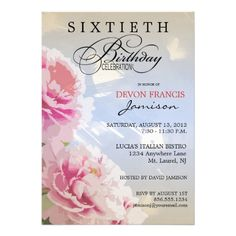 Peony Floral 60th Birthday Party Invitation Blue