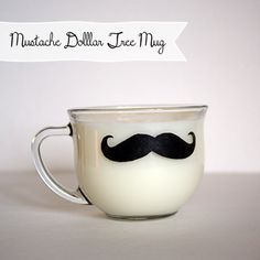 @DollarTree Mug Stenciled Mustache; Great #DIY #GiftIdea @savedbyloves