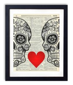 HANDMADE ON AMAZON Sugar Skull Love With Flowers Upcycled Vintage Dictionary…