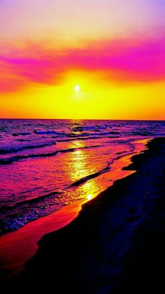 Stunning color - Sunset beach on Panama City Beach, Florida.