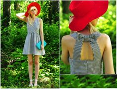 loving the red hat and the mint purse!!   lookbookdotnu:    Surprise…Bow back!  (by Coury Combs)