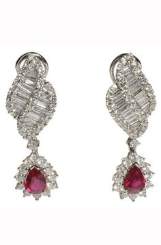 Platinum and diamond and ruby earrings :: Lulu's Estate Jewellery - http://uk.bazaar.com/1dem0tZ
