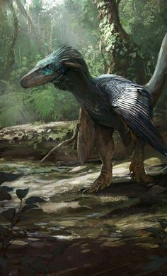 During the Late Cretaceous, 70 Million Years Ago, a Balaur bondoc Whatching His Prey in What is Now Romania. Art by Jonathan Kuo.